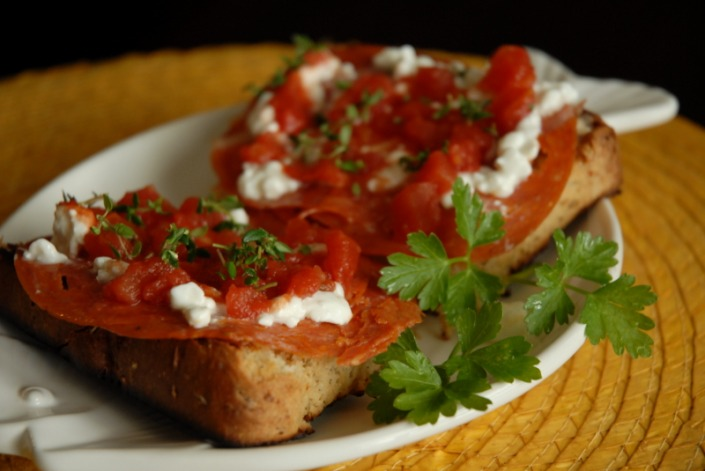 Italian open-faced sandwich